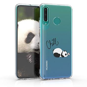 kwmobile Funda para Huawei P30 Lite - Carcasa de [TPU] para móvil y diseño del Panda y la Mariposa en [Negro/Blanco/Transparente]