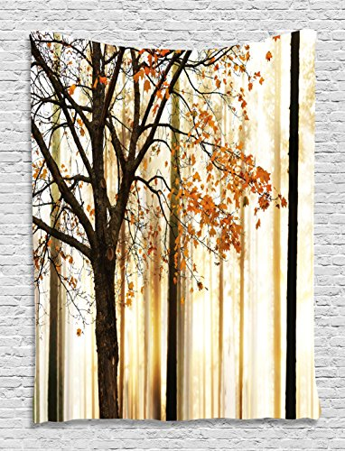 Tree Tapestry by Ambesonne, Fall Trees Enchanted Nature Vibrant Colors Design Art Decor Digital Printed Tapestry Wall Hanging for Living Room Bedroom Dorm Decor, Orange Ivory Brown Beige