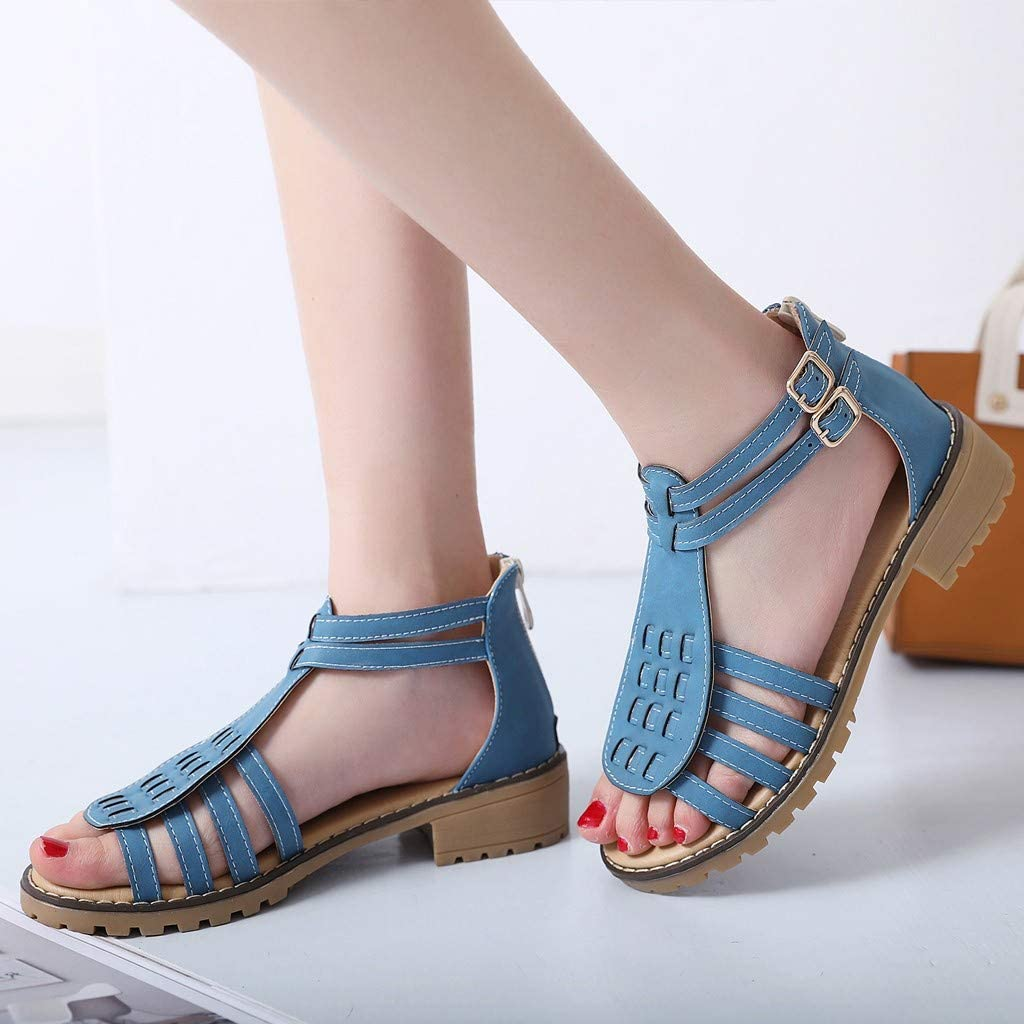 Claystyle Womens Ankle Strap Sandals Summer Flat Open Toe Shoes Casual Roman Sandals