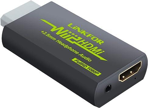 Convertidor Wii a HDMI Adaptador Wii2HDMI 720P / 1080P Conversor de Video Puerto HDMI con Salida Audio 3.5mm Jack Soporte NTSC PAL Compatible con Wii ...