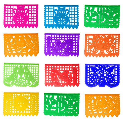 Tio Chente's Pack of 3 Medium TISSUE PAPER Papel Picado Banners, each pack measures 16 Feet Long and have 12 Frames each (36 frames and 48 feet in total) (Party City Dia De Los Muertos)