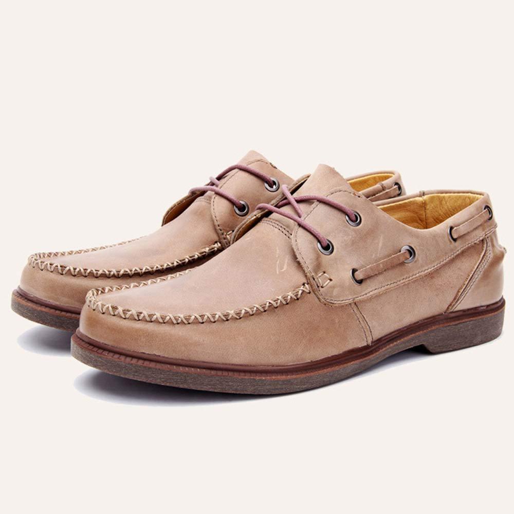 WANG-LONG Schuhe Herren Martin Stiefel Retro Persönlichkeit Outdoor Lederwaren Lederwaren Lederwaren Lederschuhe Herbst Und Winter Rutschfeste Freizeitmode,Light-braun-42 039954