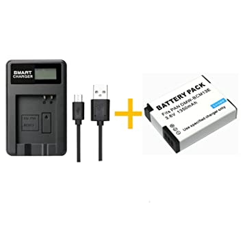 1 Piezas 1350 mAh BCM13 Batería con LCD Cargador de Batería Individual para Panasonic Lumix ZS40/TZ60, ZS45/TZ57, ZS50/TZ70, ZS27/TZ37 y TZ41 (1 pcs ...