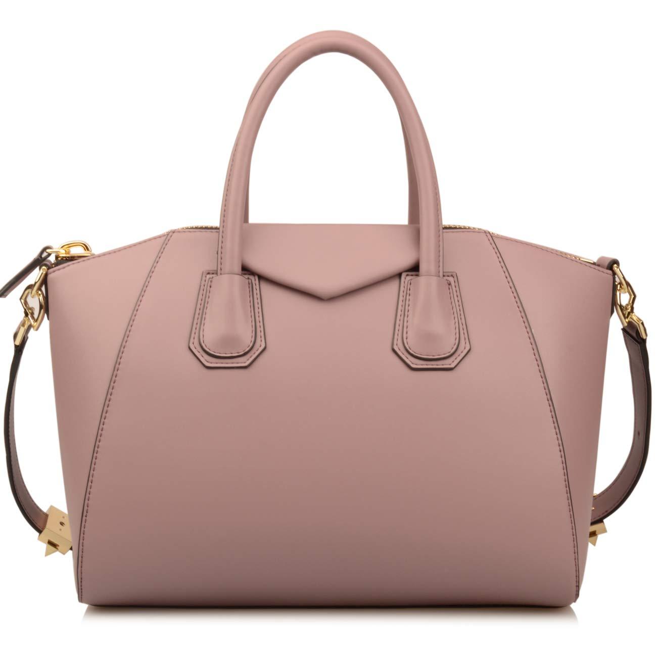 Ainifeel Women's Genuine Leather Everyday Purse Top Handle Handbags Shoulder Bags (Medium, Lavender)