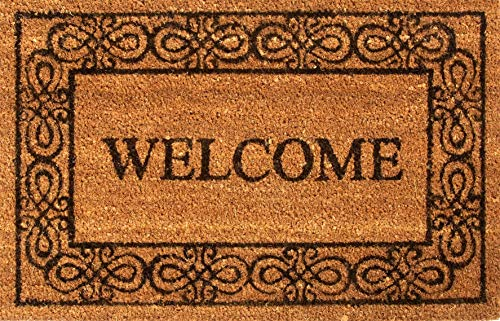 (Coir Welcome Doormat Black and Tan Premium Entryway Natural Coir Welcome Door Mat, Coconut Fibers, All Seasons 18