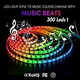 Strip Light Kit Sync with Music | Sanwo 16.4ft 300LEDs RGB 5050SMD IP65 Waterproof String Lights with Remote, 12V Power Supply, Color Changing Lights Strip Controller, Rope Light Fixing Clips for Room