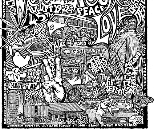 amazoncom woodstock collage with janis joplin grateful dead jimi hendrix santana and more inspired letterpress art print poster detailed pen and ink