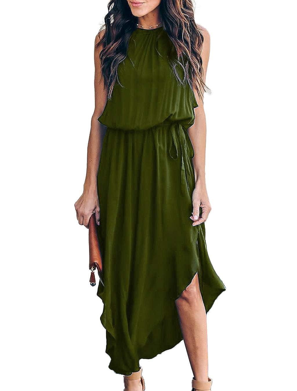 d2939af917ae Mlebr Womens Casual Chiffon Halter Sleeveless Slit Midi Dresses at Amazon  Women's Clothing store:
