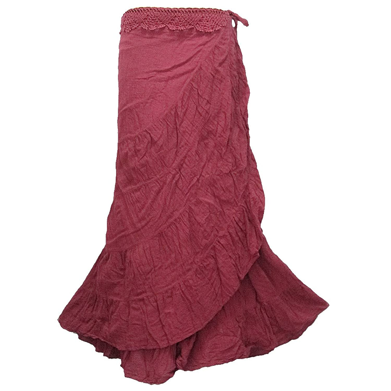 Women's Crochet Waist Ruffle Wrap Around Long Skirt - NG48N