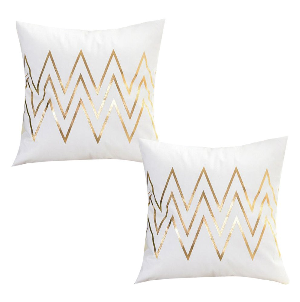 WOMHOPE 2 Pcs - 17'' Hot Stamping Super Soft Short Fuzzy Cushion Decorative Pillow Covers Square Throw Pillowcase Cushion Covers for Sofa,Bed (Wave (Set of 2 pcs))