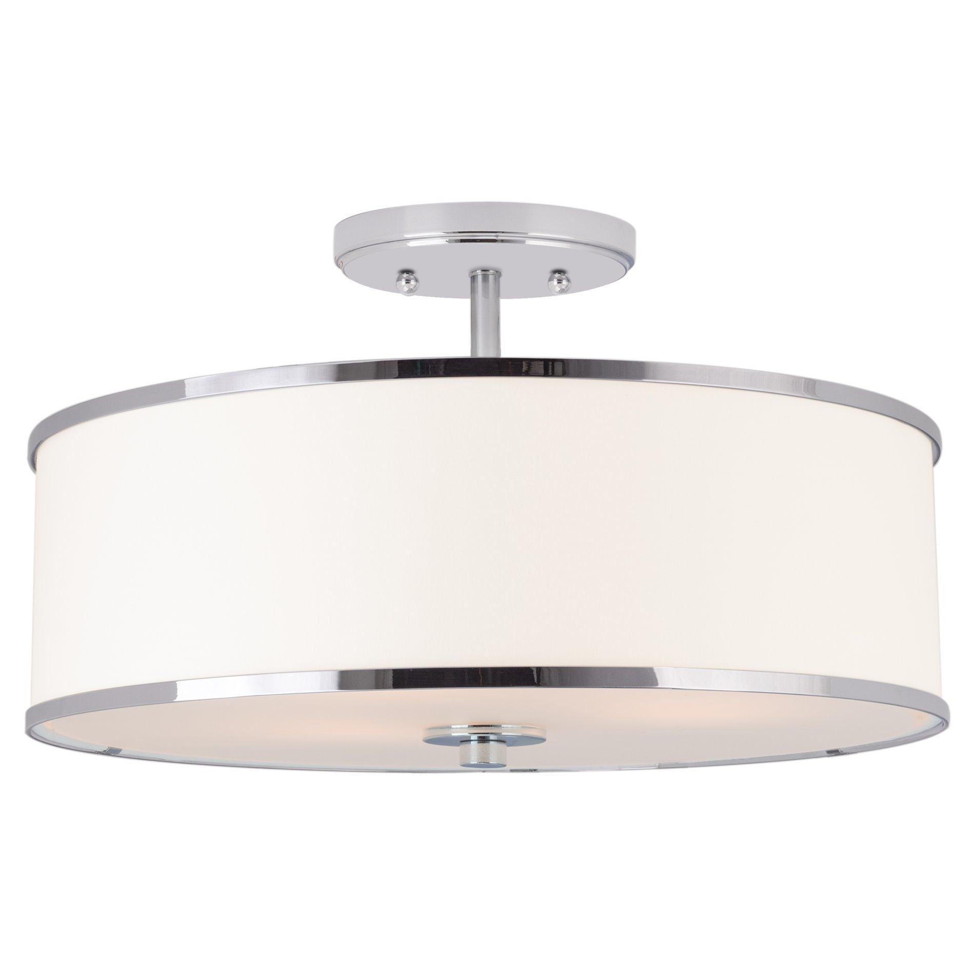 Details about kira home chloe 15 modern ceiling light semi flush mount white drum shade