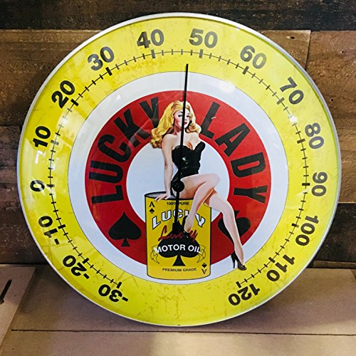 "LUCKY LADY MOTOR OIL - THERMOMETER 12"" Round Glass Dome Sign - Brand New - Vintage Style (Boat Style Garage Round)"