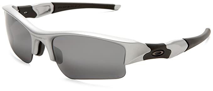 Oakley Flak Jacket Polarized Sunglasses  oakley men's flak jacket polarized sunglasses,silver frame/black lens,one size