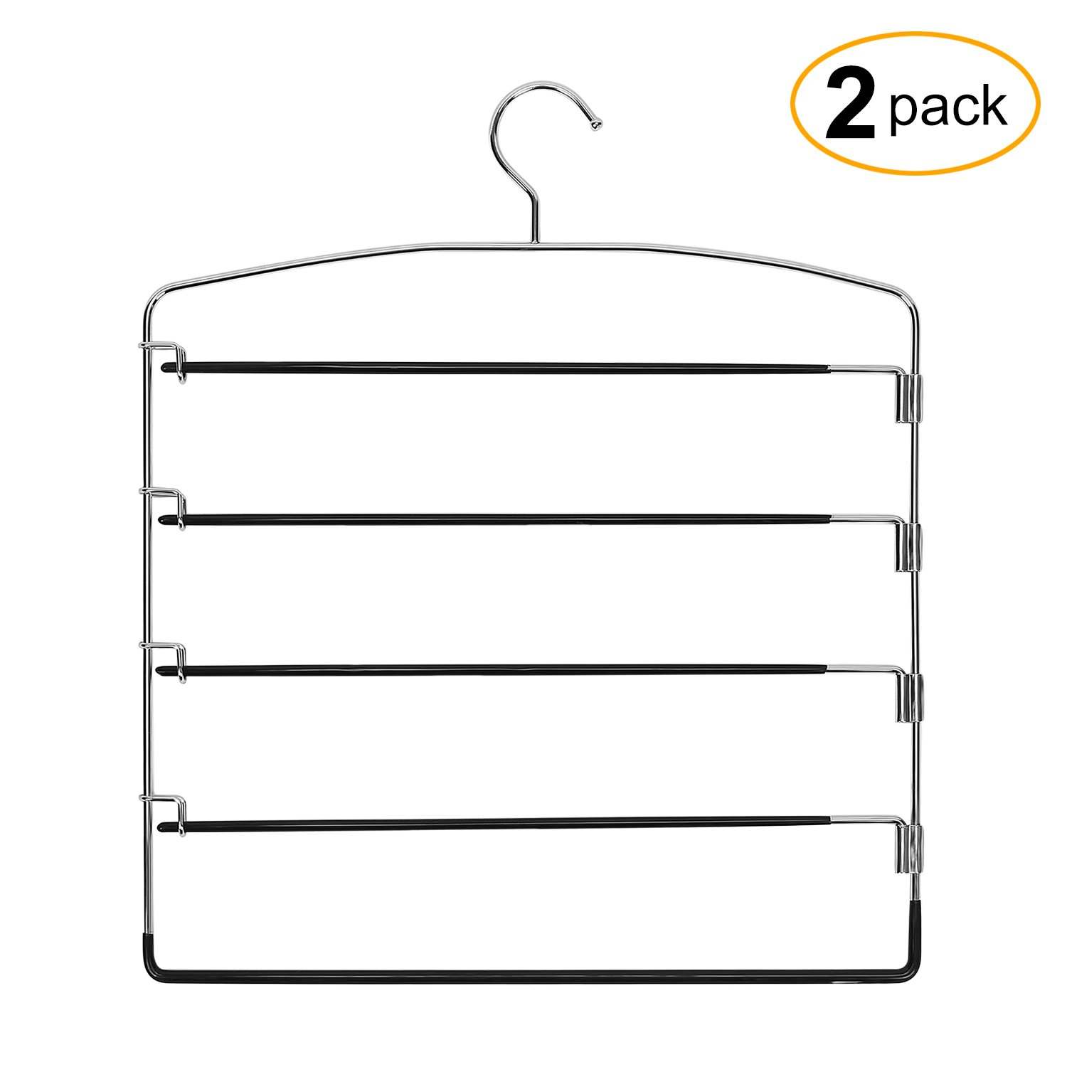 Corodo Black Pants Hangers 2 Pack, No Slip Multi Pant Hanger for Jeans Trousers, Skirts, Scarf, 5 Tier Swing Arm Pant Rack product image