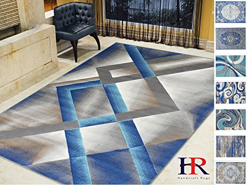 Handcraft Rugs-Khaki/Navy/Silver/Blue-Faded, Contemporary Distressed Area Rug Diamond/Trellis/Geometric Pattern Area Rug Abstract,Kashan Rug(8 x 10 (Abstract Geometric Diamonds)