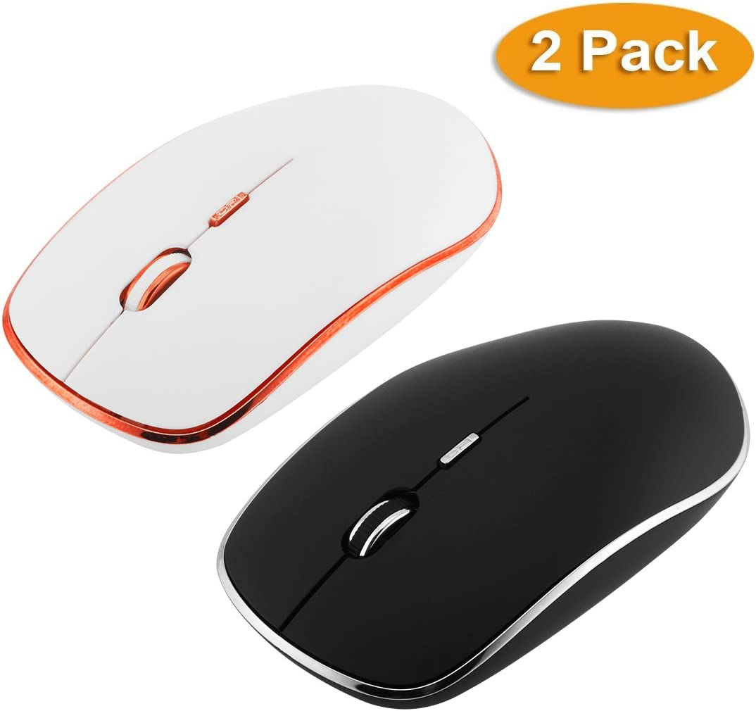 LingAo Slim Silent Wireless Mouse,2 Pack with Nano Receiver,3 Adjustable DPI Levels,Slim Silent Wireless Mouse Silent Click for PC, Laptop, Tablet, Computer, and Mac (Black&White)