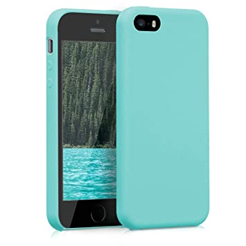 kwmobile Funda compatible con Apple iPhone SE / 5 / 5S - Carcasa de TPU para móvil - Cover trasero en menta