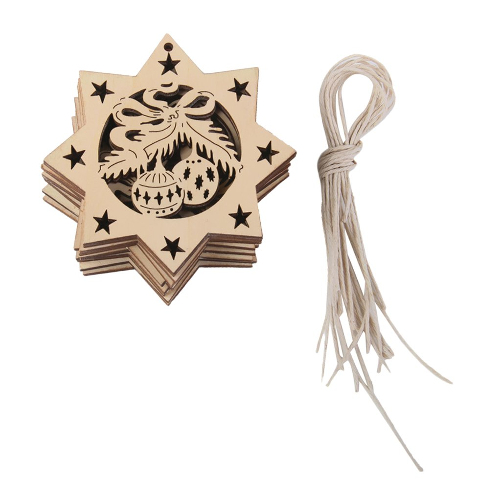 10pcs Wooden Embellishments with String Christmas Decoration Octagon Bells Generic AEQW-WER-AW124650