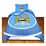 Manchester City FC Official Bullseye Reversible Duvet Cover Bedding Set (Twin Bed) (Blue/White)