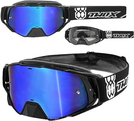 Two X Rocket Crossbrille Schwarz Glas Verspiegelt Blau Mx Brille Nasenschutz Motocross Enduro Spiegelglas Motorradbrille Anti Scratch Mx Schutzbrille Nose Guard Auto