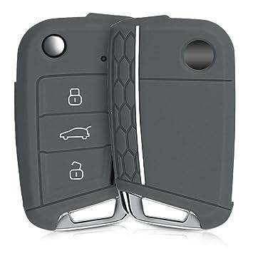 kwmobile Funda de Silicona para Llave de 3 Botones para Coche VW Golf 7 MK7 - Carcasa Protectora [Suave] de [Silicona] - Case Mando de Auto ...