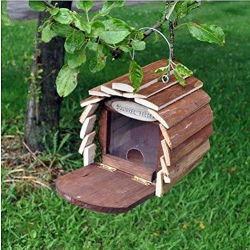 Estación de alimentación alimentador de ardilla Hotel para casa hogar caja de madera nido jardín/jardinería
