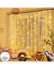 Dieron 300 LEDs Window Curtain Twinkle Star USB Remote Control 8 Modes String Lights Outdoor String Lights