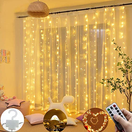 Dozenla Curtain String Lights 300 LEDs Window Curtain Fairy Lights Copper Wire Twinkle Star String Lights USB Remote Control 8 Modes Hanging Lights for Bedroom Decor Indoor Outdoor, Wedding