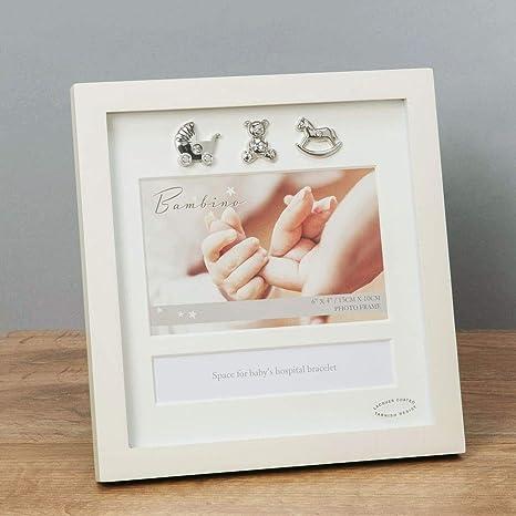 Baby Bilderrahmen zur Aufbewahrung des Geburtsarmbands Krankenhausb/ändchens mit Ihren pers/önlichen Geburtsdaten Farbe:weiss