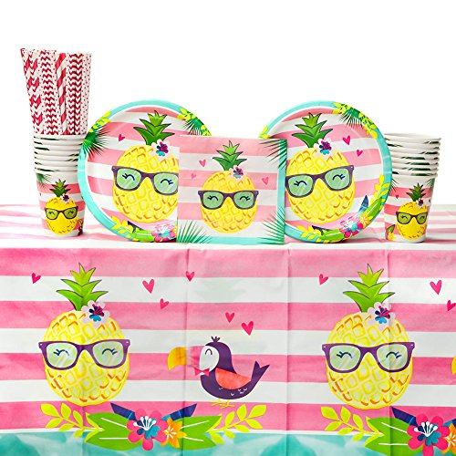 (Pineapple n' Friends Luau Birthday Party Supplies Pack for 16 Guests | Straws, 16 Dinner Plates, 16 Luncheon Napkins, 1 Table Cover, and 16 Cups |Pineapple, Toucan, Flamingo Design |)