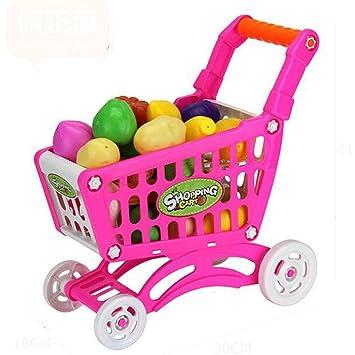juguete de compras Vovotrade Jugos de carro de compras de verduras de frutas (rojo)