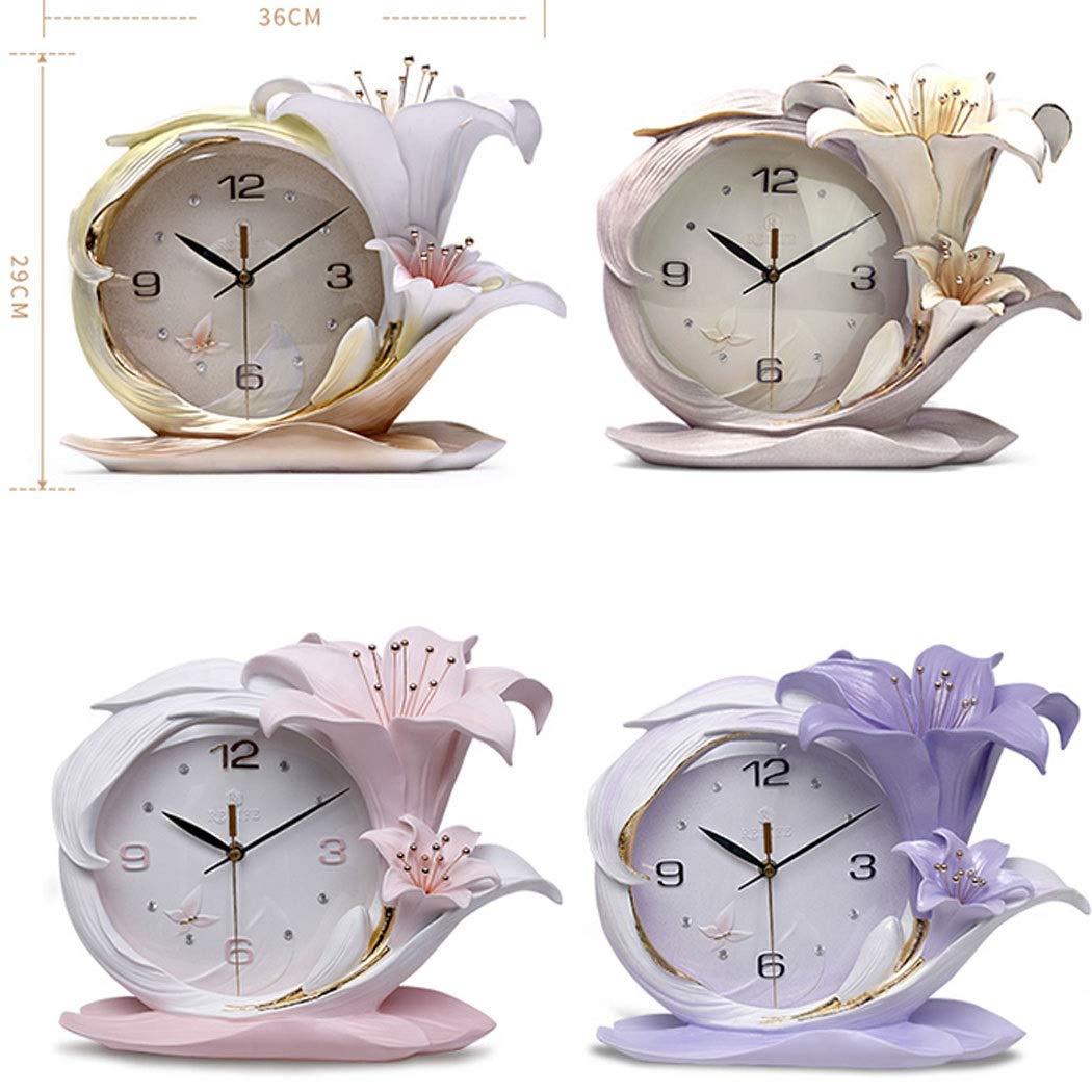 HONGNA Creative Resin Table Clock Living Room Stereo Clock Decoration Modern Fashion Desktop Art Decoration Bedroom Clock Simple Clock, Perfume Lily Small Fresh Table Clock Quality Assurance 3629cm by HONGNA (Image #2)