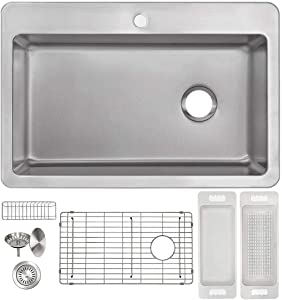 "Zuhne Offset Drain Kitchen Sink 16 Gauge Stainless Steel (33"" by 22"" Drop-In Top Mount)"