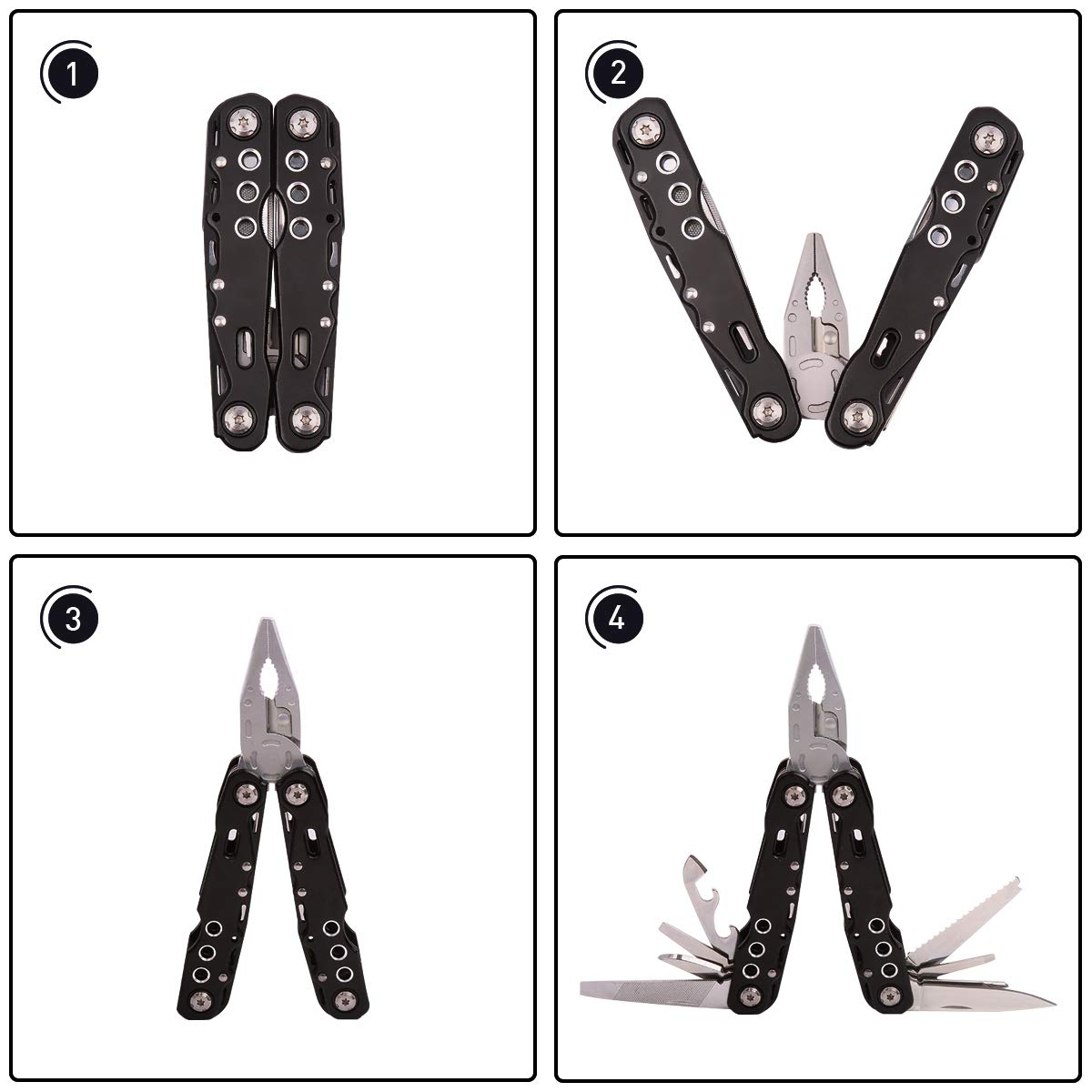 15 in 1 Multitool Plier, DeJAVU Potable Stainless Steel Multitool Knife, Plier, Screwdriver, Bottle Opener for Outdoor Survival,Camping,Fishing,Hiking,Hunting
