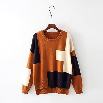 SZYL-Sweater Jersey de Cuello Redondo Jersey de otoño Invierno Jersey de Punto  Abierto para Mujer Jersey de Punto Amarillo d626baf10a3e