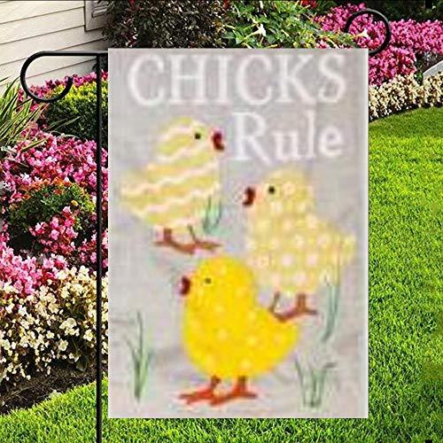 (One Side Print Garden Flag,Polyester,Chicks Rule House Flag)