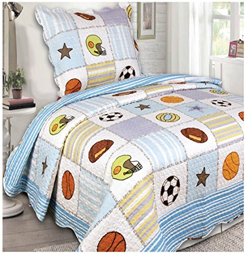 Mk Collection 2 Pc Bedspread Boys Sport Football Basketball Baseball White Light Blue New by MK Home