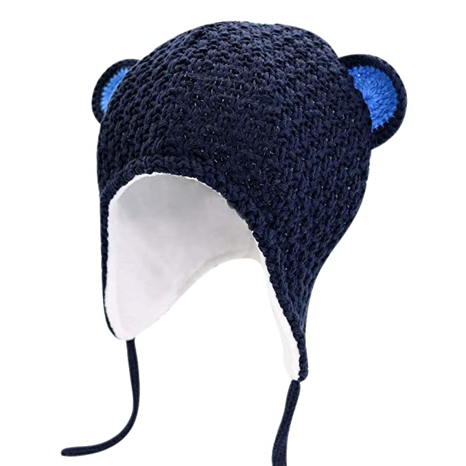 c5d13f8981e Amazon.com  IMLECK Baby Boy Girls Cute Bear Knit Winter Toddler Beanie  Earflap Fleece Lining Hat with Chin Straps  Clothing
