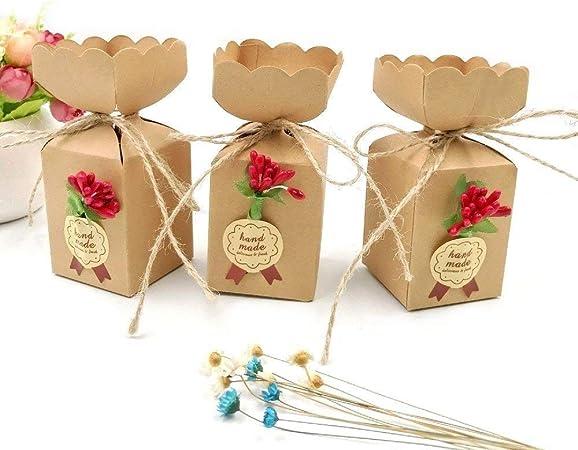 JZK 50 Cajas favor Kraft con línea yute + flores + pegatinas, caja ...