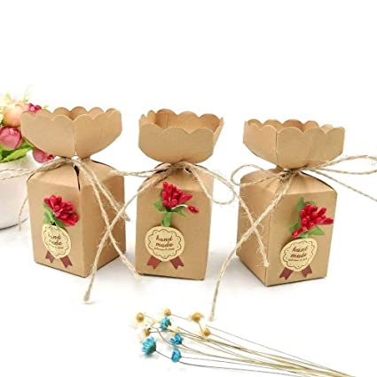 JZK 50 Cajas favor Kraft con línea yute + flores + pegatinas, caja dulces caramelos