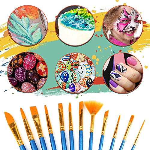 Koogel 16 STK. Künstlerpinsel Set, 12 Künstlerpinsel Malen Acrylpinsel mit 2 Mischpalette 1 Palettenmesser 1 Kunstschwamm für Anfänger Kinder Künstler Gemälde Liebhaber