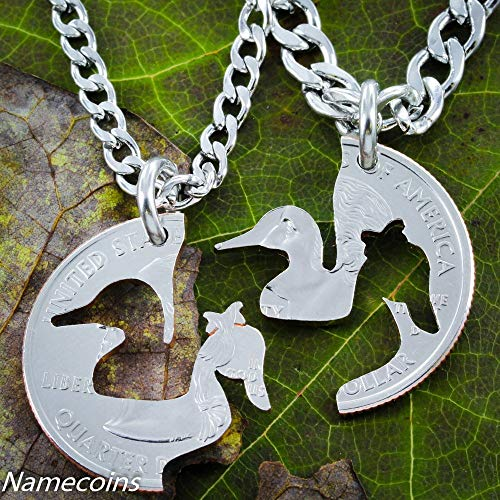 Duck Necklaces, couples necklaces, His and Hers necklaces cut from a coin, By NameCoins -