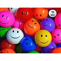 EEVOVEE 50pcs Plastic Smiley Kids Pool Ball for Kids 8cm - 50pcs Premium Quality Non Toxic Balls for Kids - Similar Size of Cricket Ball
