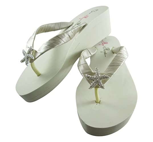 dd97486289ec6 Amazon.com: Wedge Flip Flops Rhinestone Starfish Wedding Sandals ...