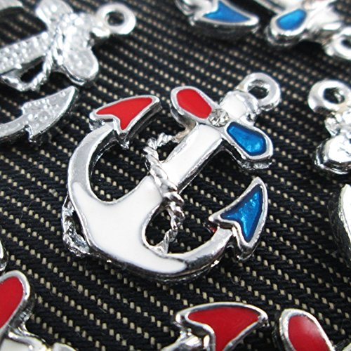 Red Blue White Anchor Charms – 5 charms – Enamel pendant, Jewelry handmade material supplies Earring findings 25x20mm – (NS405)