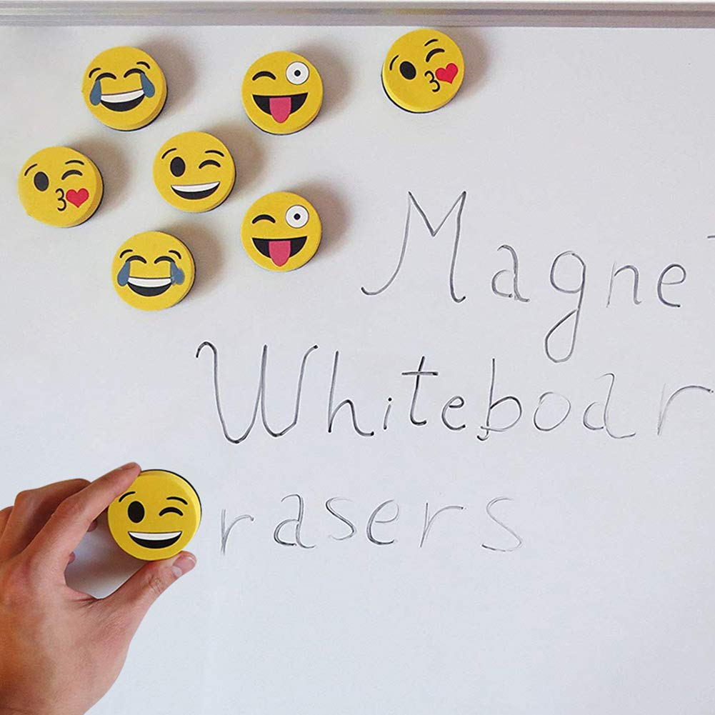 Eraser Whiteboard Magnetic Smiley Face Circular 2'' Eraser - Teaching Supplies Prime Dry Erase Accessories Felt Dry Eraser (Yellow) by RSVLEISI (Image #2)