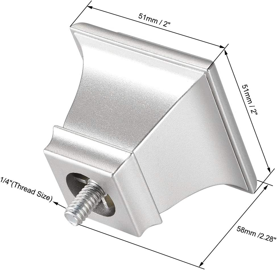 Plastic End,1//4 Thread Dia,Square Design,Silver Tone 6pcs Rod uxcell Curtain Rod Finials,Fit for 0.62 Inch Dia Max.