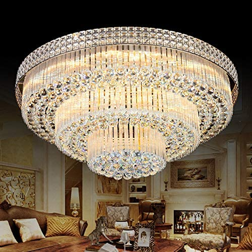 KALRI Modern K9 Crystal Chandelier Flush Mount LED Ceiling Light Fixture Pendant Lamp for Living Room Bar Shop Dia 31.5