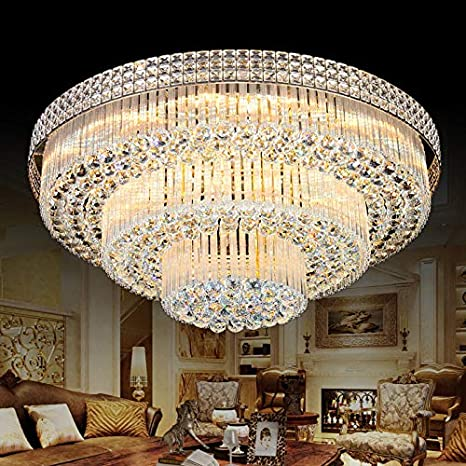 competitive price f892b 113a4 KALRI Modern K9 Crystal Chandelier Flush Mount LED Ceiling Light Fixture  Pendant Lamp for Living Room Bar Shop (Dia 31.5'')