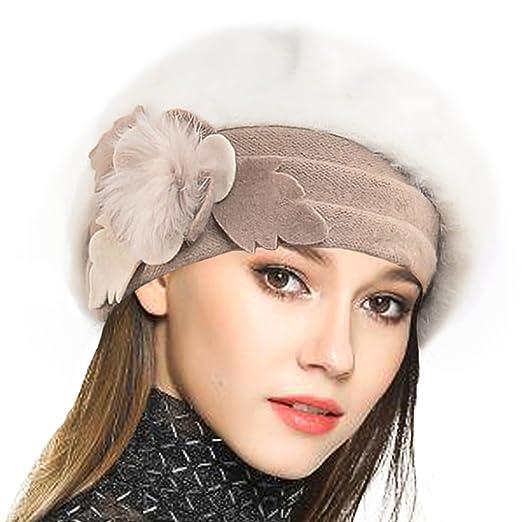 a321fb236cd VECRY Women s 100% Wool Bucket Hat Felt Cloche Bow Dress Winter Hats  (Angora-